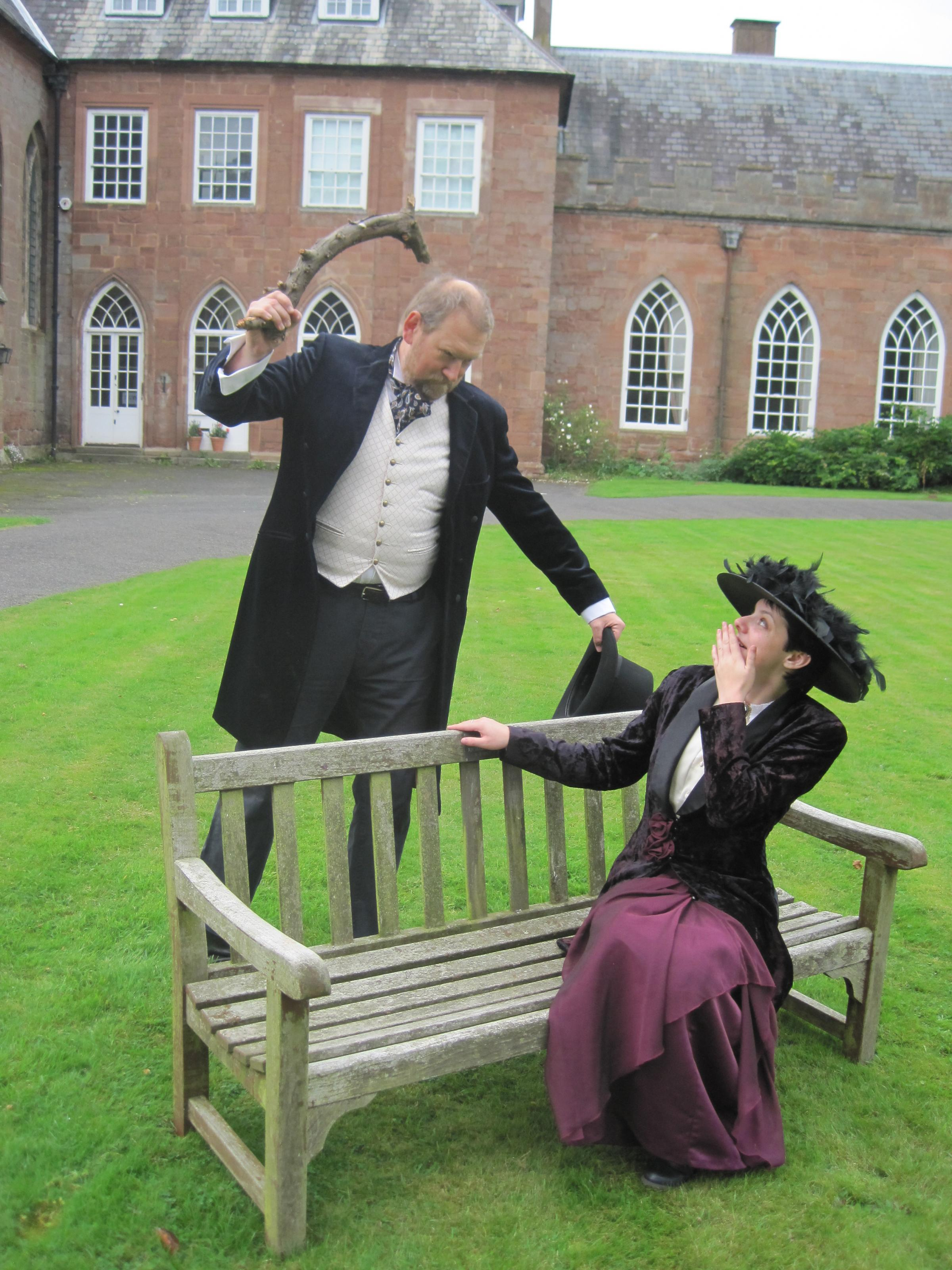 WHODUNNIT: Actors Jonathan Darby and Sarah Gillam preparing for this year's murder mystery evenings at Hartlebury Castle.