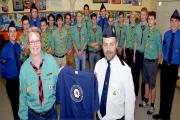 TWIN VISIT: Exchange of gifts between Silke Raap, leader of the Schobull Scouts, and Graham Knight, leader of 1st Kidderminster Boys' Brigade. Picture: Colin Hill