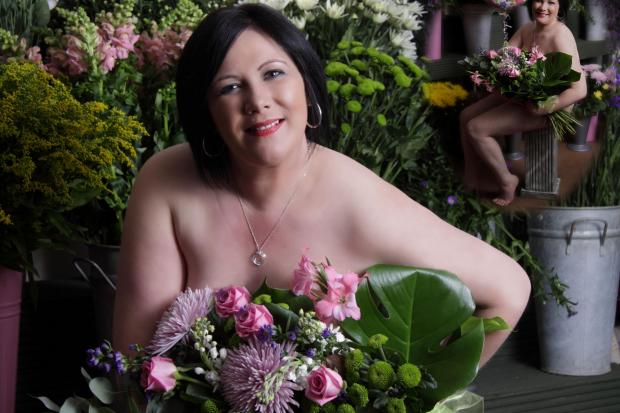 STOURPORT GETS NAKED: Nicky Evans, of Nicky's Flowers, Bewdley Road, Stourport, in her calendar pose.