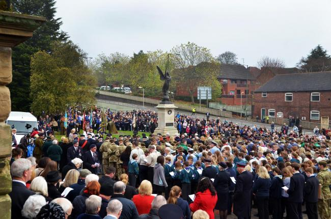 LEST WE FORGET: The remembrance service outside St Mary's and All Saints Church in Kidderminster. Picture: Colin Hill