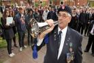 REMEMBRANCE: Brian Turvey played the bugle at Wolverley CE Secondary School's service. 461411JH