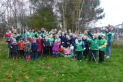LITTER PICKERS: More than 40 children and parents of Burlish Park Primary School helped out at the tidy up event.