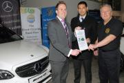 Mercedes sales manager Kevin Walton, (left) with Mitchell Hunt and Rotarian Alan Bowler. 150708L