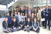Sir Ian McKellen - surrounded by students and staff from Haybridge High School and Sixth Form at his recent visit.