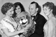 1957 Carnival Queen Joyce Knowles with Lenny the Lion and ventriloquist Terry Hall and attendants Cynthia Burgess (left) and Pauline Jones.