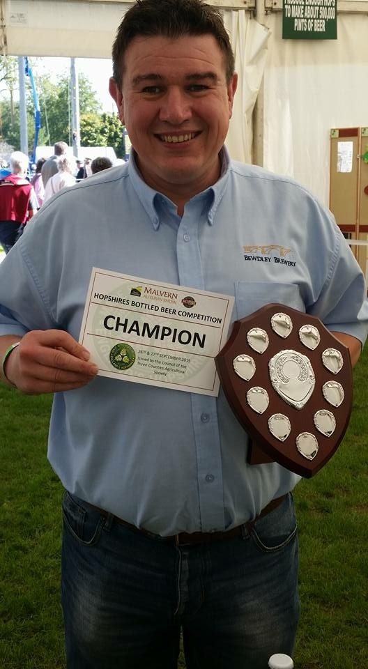 Delighted Tim Wilkins of Bewdley Brewery with the prize