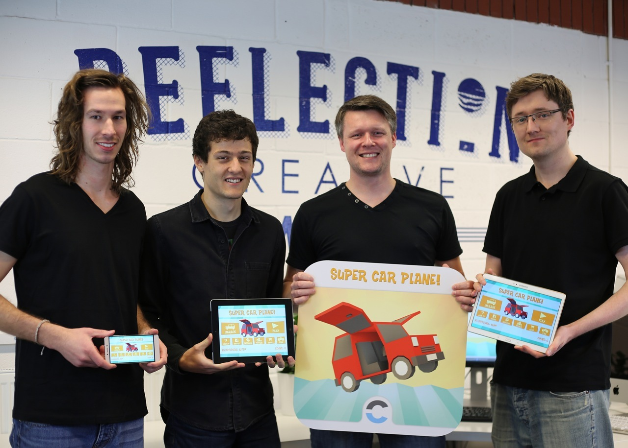 The Reflection Design team with their new game app Super Car Plane