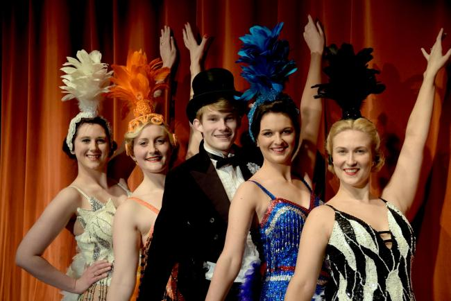 Lucy-Charlotte Webb, Emma Paine, Ryan Donnell, Molly Parmenter and Helen Mackie in 42nd Street. Picture by Colin Hill