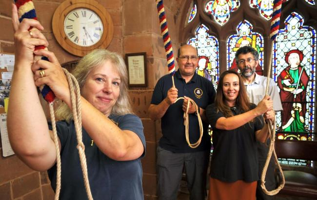 Kinver's St Peter's Church bell ringers Diane Awkati, Mo Awkati, Kerry O'Coy and Andrew Gray are among a number of church ringers across the area opening up to the public this weekend. Photo: Phil Loach