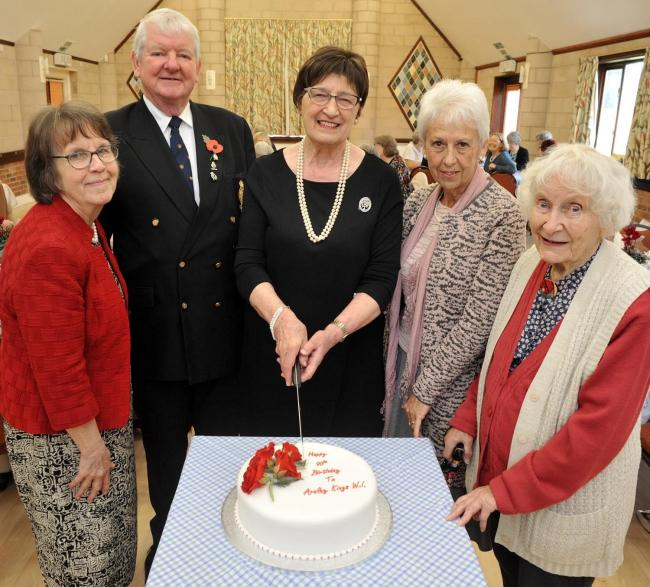 (L-R) Pauline Briggs, David Rushforth, Patsy Anderson, Suzanne Owen and Margaret Shaddock celebrate Areley Kings WI's 90th birthday