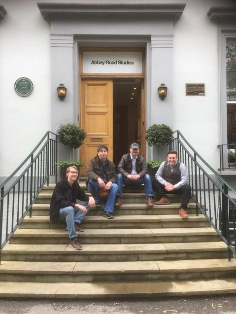 Kidderminster-based band Dharma Bums outside Abbey Road Studios
