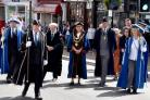 The Mayor of Bewdley, Councillor Anna Coleman (centre), leads civic dignitaries to a service at St Anne's Church. Picture by Colin Hill