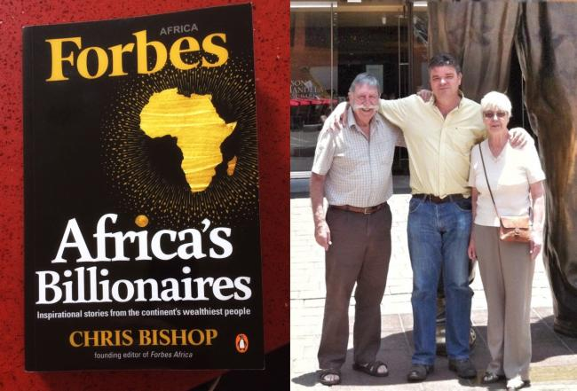 Chris Bishop, pictured with his parents Tony and Sheila Bishop, and his new book