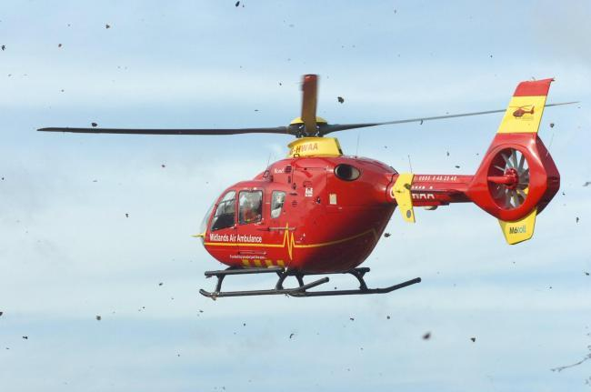 The Midlands Air Ambulance from Strensham was dispatched to the scene