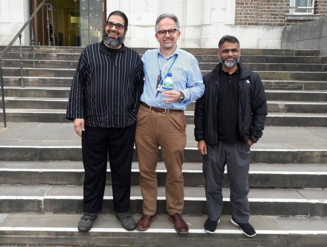 Dr David Nicholl, centre, with Shaker Aamer, left, and Moazzam Begg, right.
