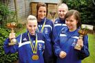 Kings and queens of Europe: Emily Powell, Kara Bennett, Dave Powell and Sophie Powell show off their medals won at the Shukokai Championships.