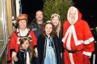 Rosebud Roxie Jordan, Mayor Vi Higgs, Malcolm Boyden, Princess  Emily Edwards and Queen Antonia Alberone-Chamberlain turned on Stourport's Christmas lights. PIC: Colin Hill