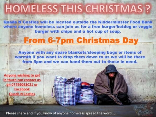Quads N Castles will be supporting homeless people outside Kidderminster Foodbank on Christmas Day evening