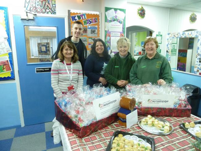 Julia Greaves and Daniel Sanders from Nightstop, Sarah Hossain from Lloyds, and Maureen Lewis and Denise Carson from Kidderminster Foodbank