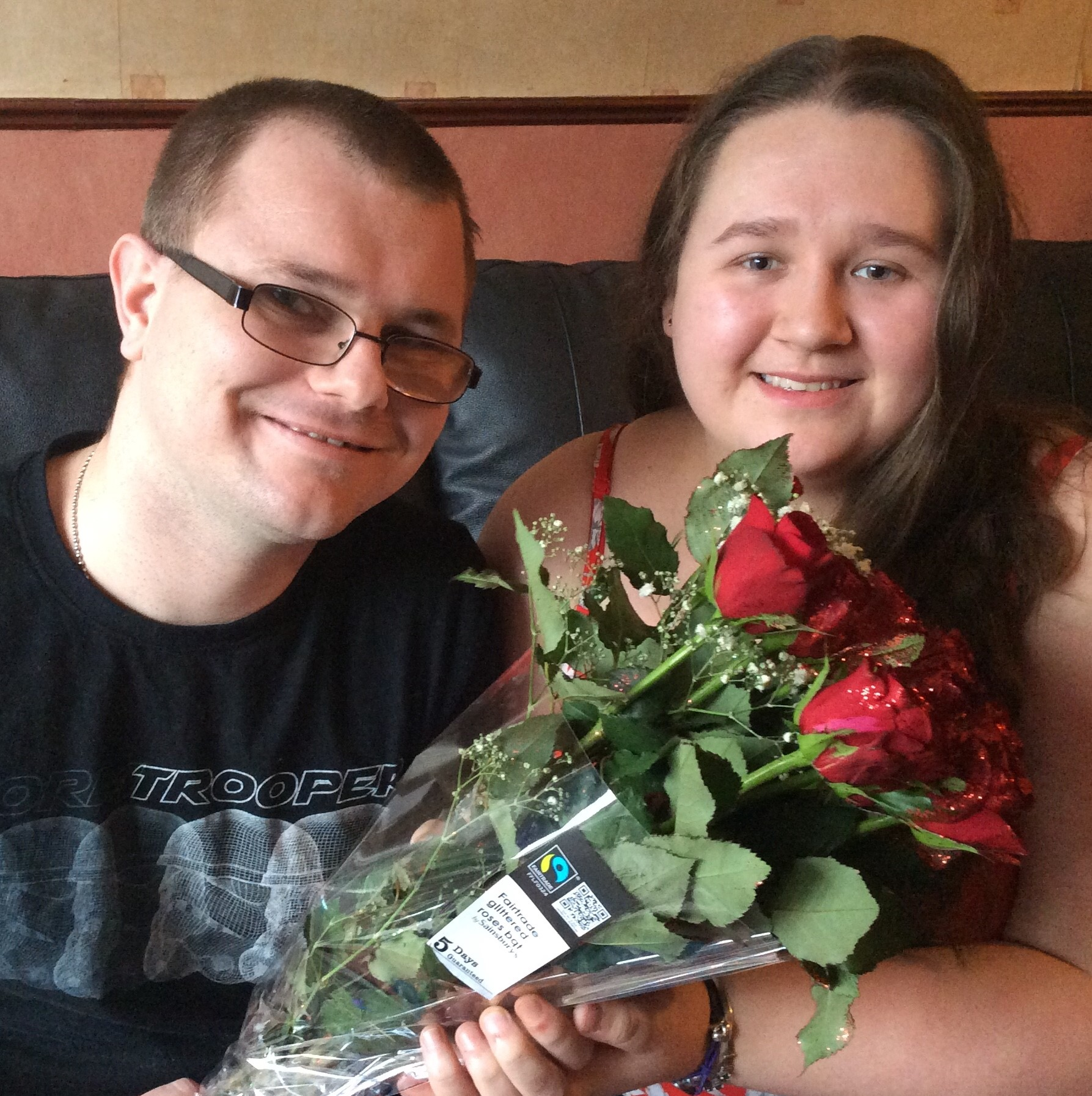 Saying it with Fairtrade flowers: Kidderminster Fairtrade Group member Hannah Lacey and boyfriend Marc Cresswell.