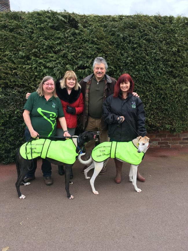 L-r - Greyhound Trust volunteer Marie Whitehouse, Joan and Carl Ashmore and Amanda Bloomer from the Greyhound Trust.