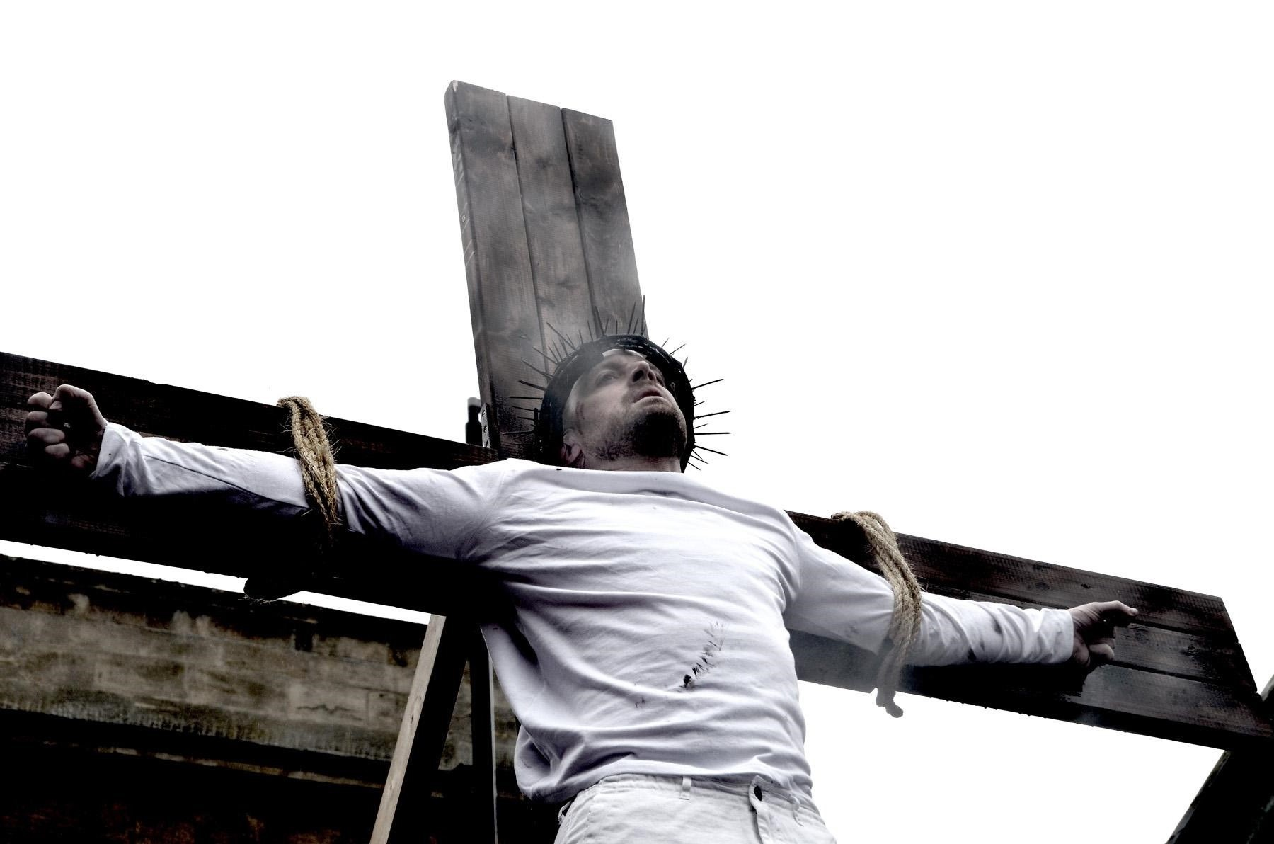 Jesus, played by Stuart Wishart, during the crucifixion in Bewdley Passion 2015. Picture by Colin Hill