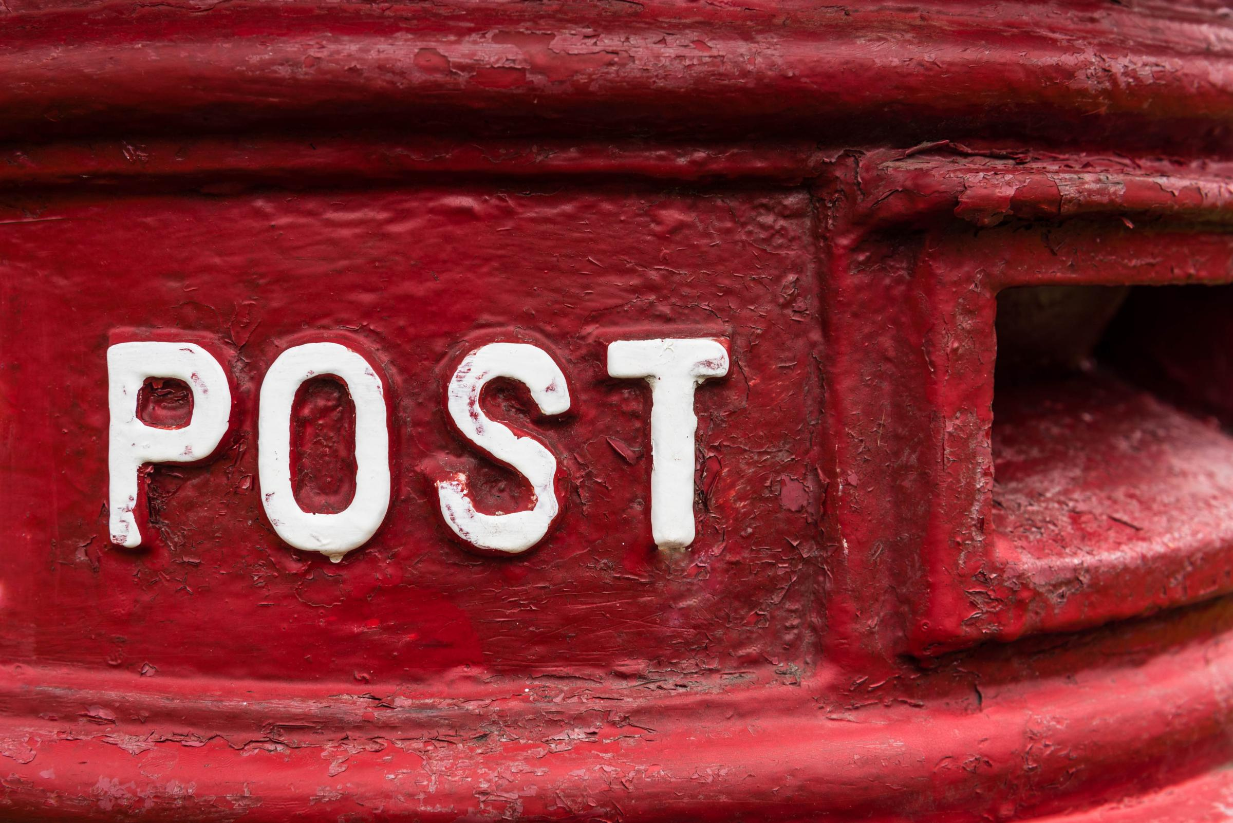 Sign post, Detail Of A Traditional Red British Royal Mail Post Box