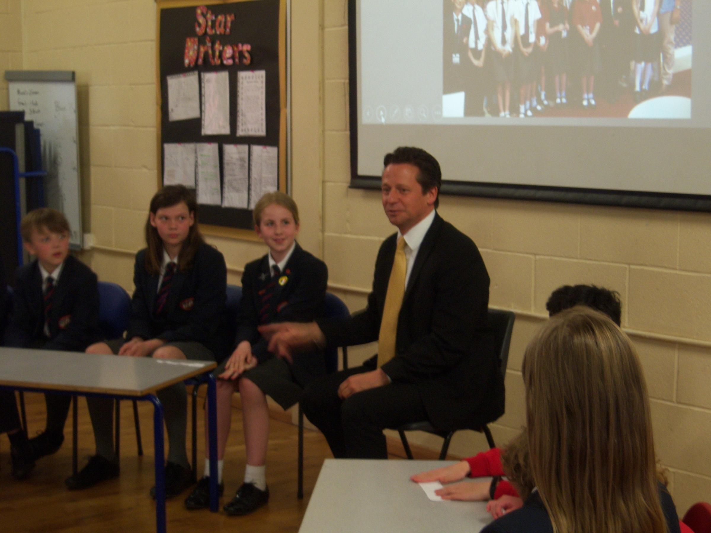 Nigel Huddleston MP faces Sytchampton Primary School Council during his visit