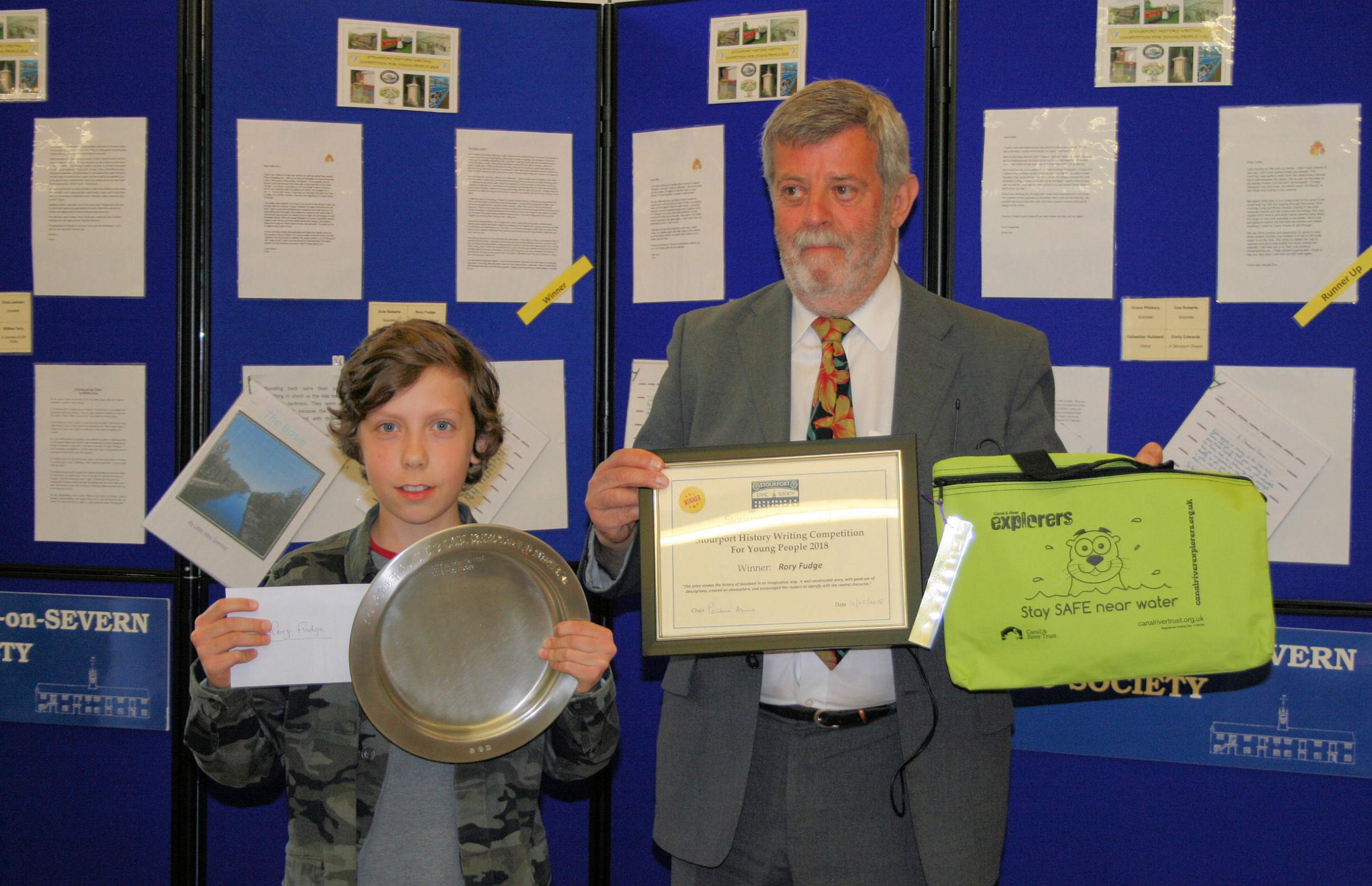 Competition winner Rory fudge with Civic Society president Will Scott