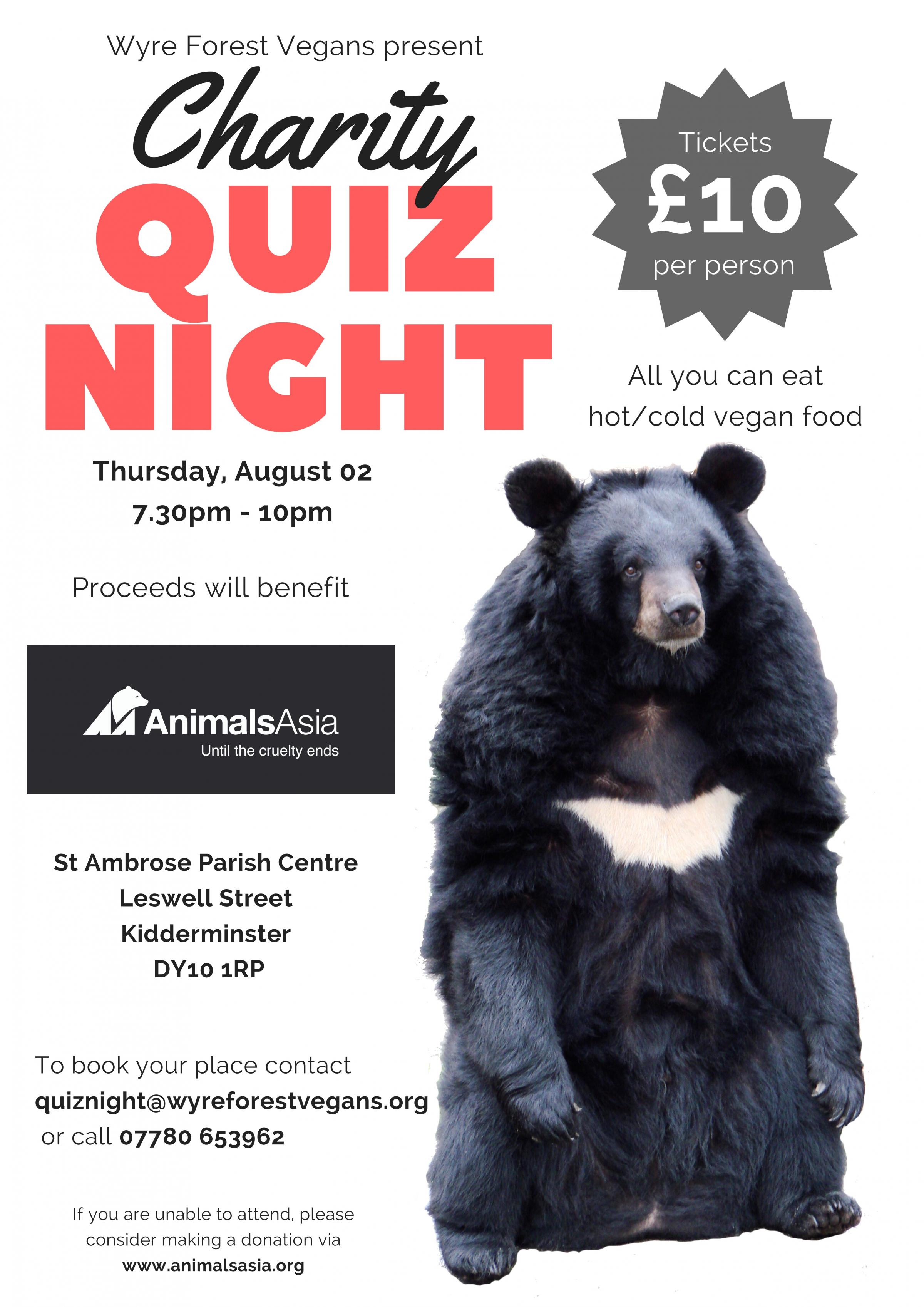 Wyre Forest Vegans to host quiz night for Animals Asia