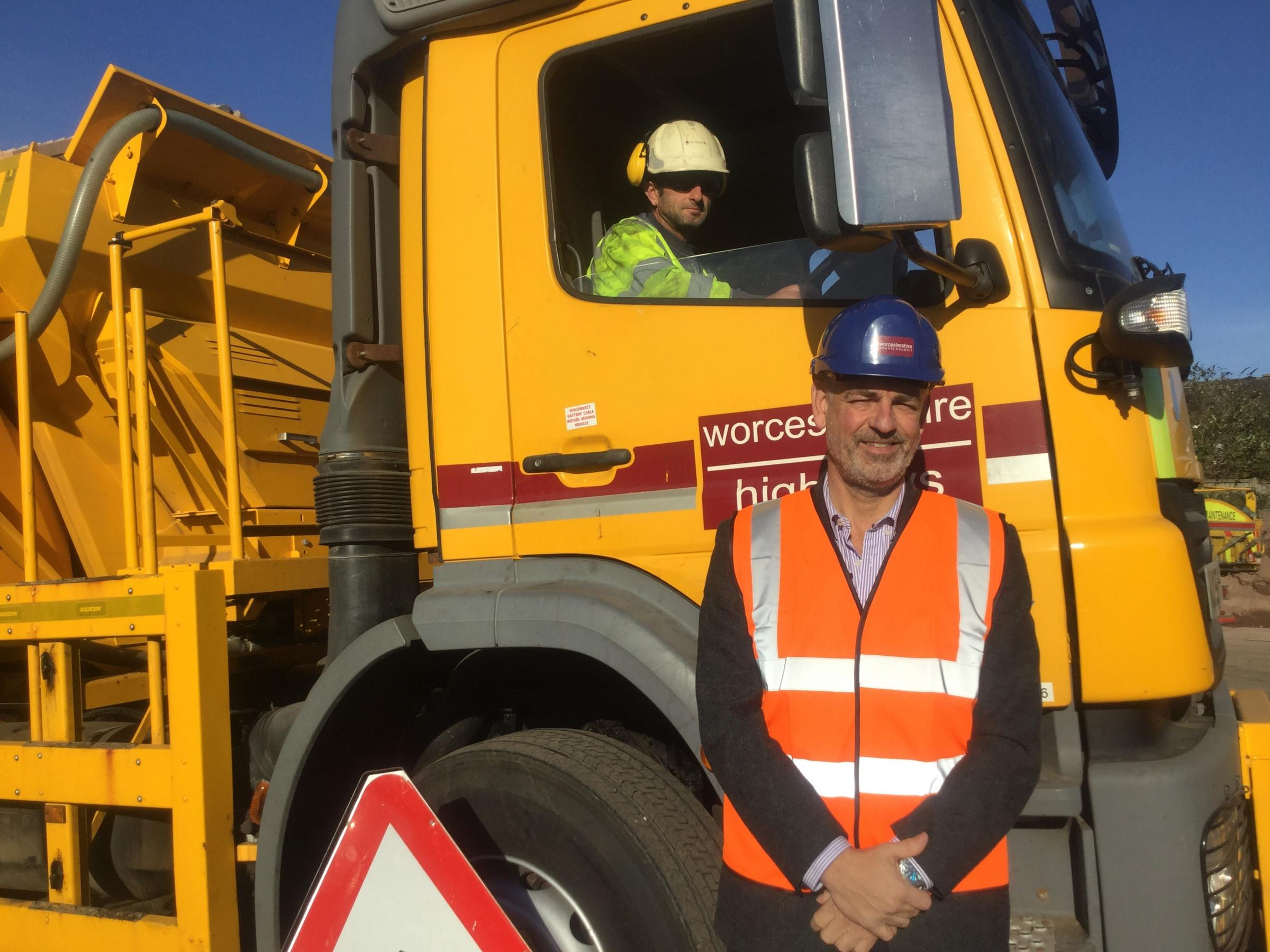 Trevor Sutton, gritting lorry driver, with Worcestershire County Council's Jon Fraser