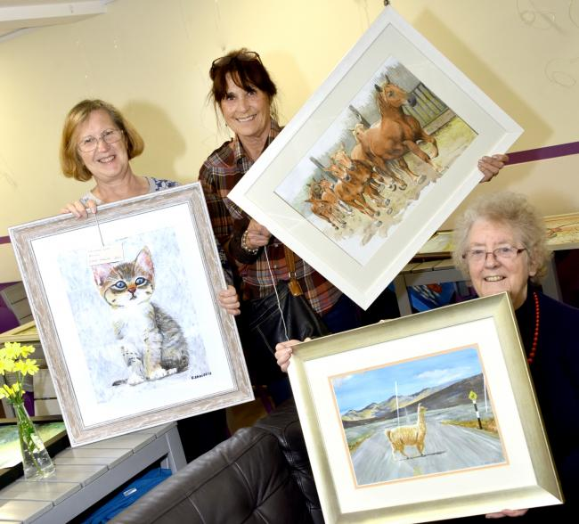 Astrid Hill, Shirley Mills and Diane Clutterbuck with their work. PIC: Colin Hill