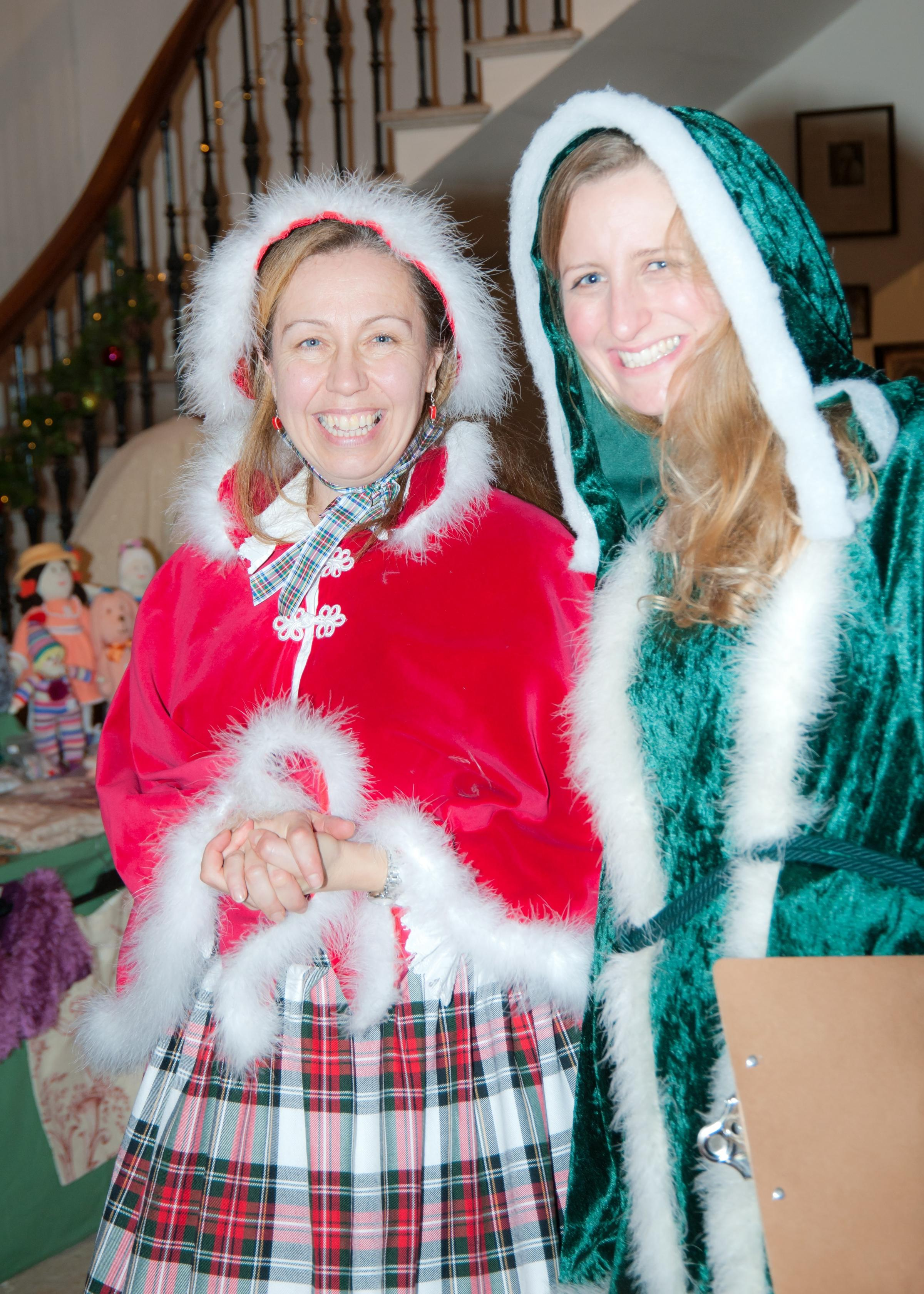 Pippa Ashmore and Cathy Hines getting in the festive spirit at Hartlebury Castle