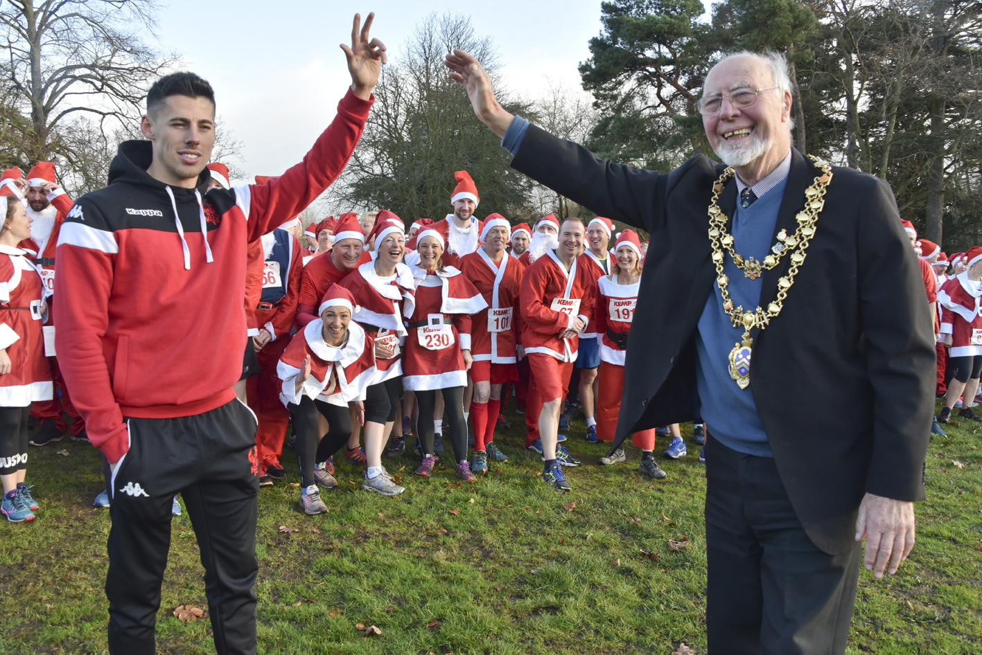 ON YOUR MARKS: Kidderminster Harriers midfielder Ed Williams and town Mayor Cllr Martin Stooke