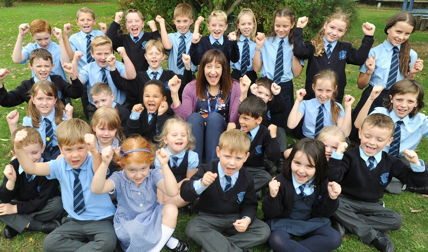 Blakedown headteacher Helen Beckford-Bond with reception and year six pupils