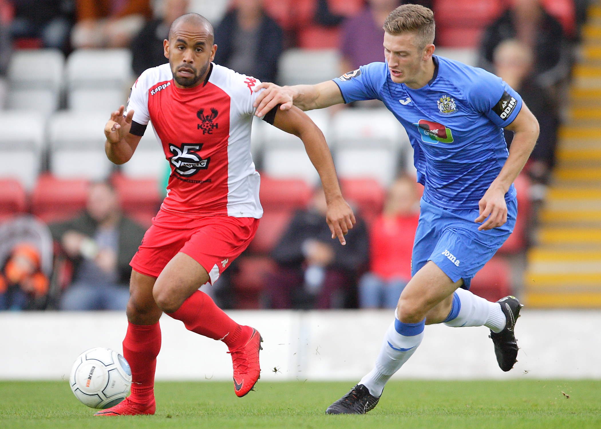 Ash Chambers, left, netted twice for Kidderminster.