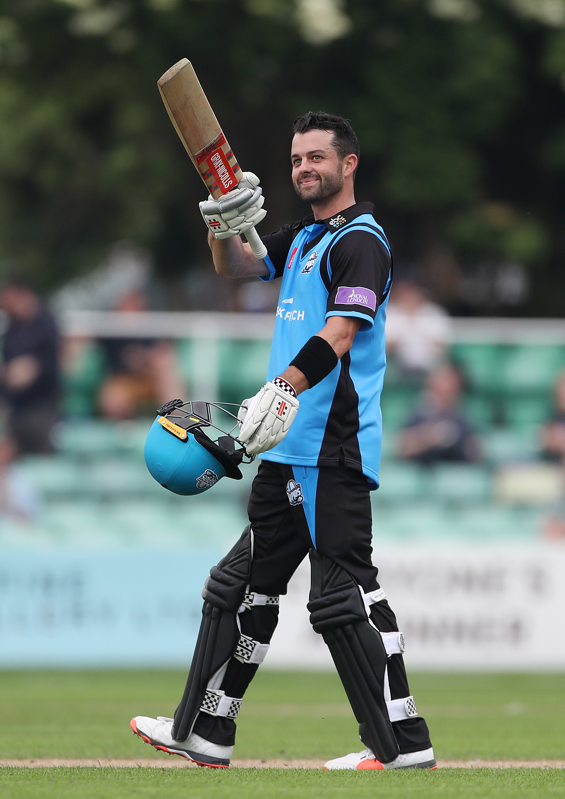 Worcestershire's Callum Ferguson reaches his century during the North Group match of the Royal London One Day Cup at New Road, Worcester..