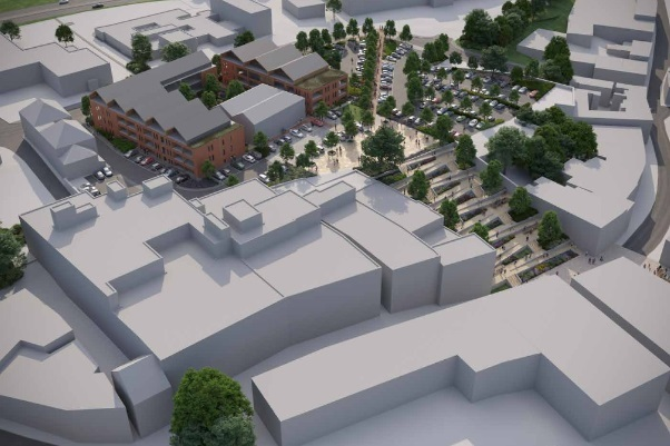 CGI image of plans to transform the eastern side of Kidderminster town centre