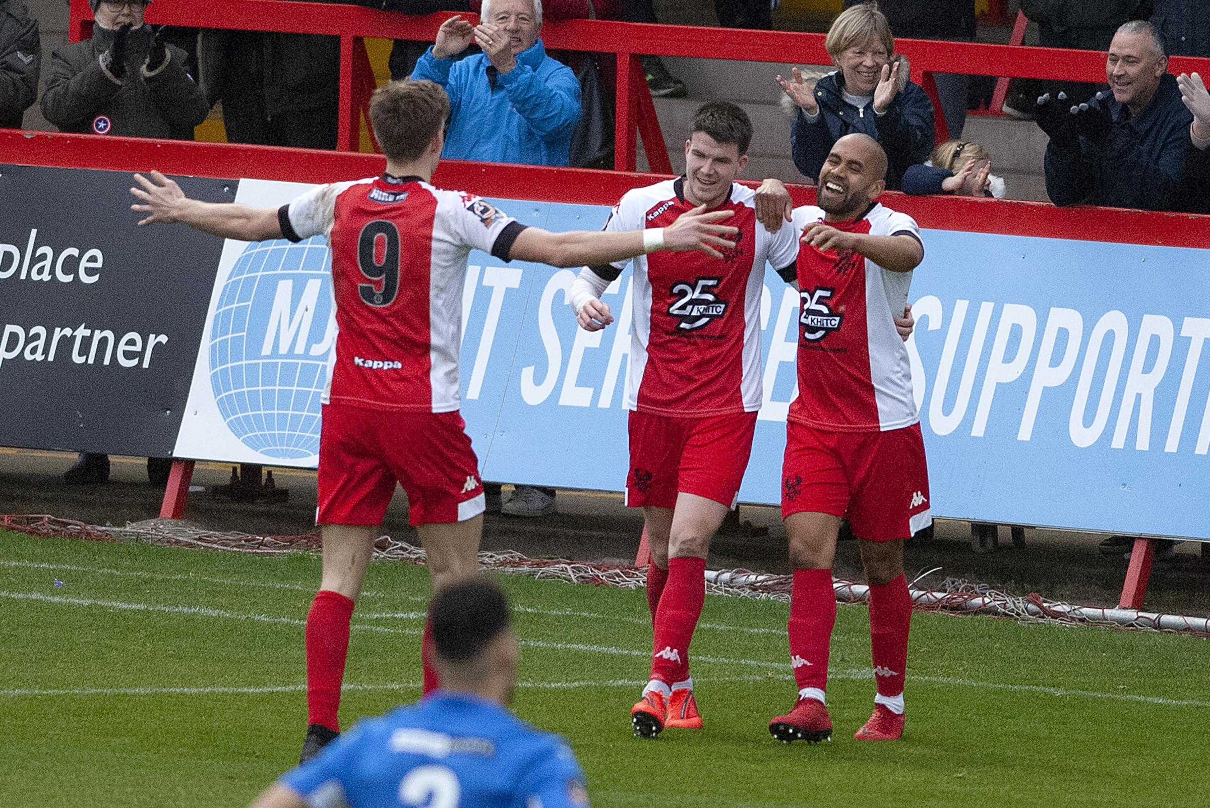 Hat-trick hero Ash Chambers celebrates against Nuneaton. Photo by Paul France.