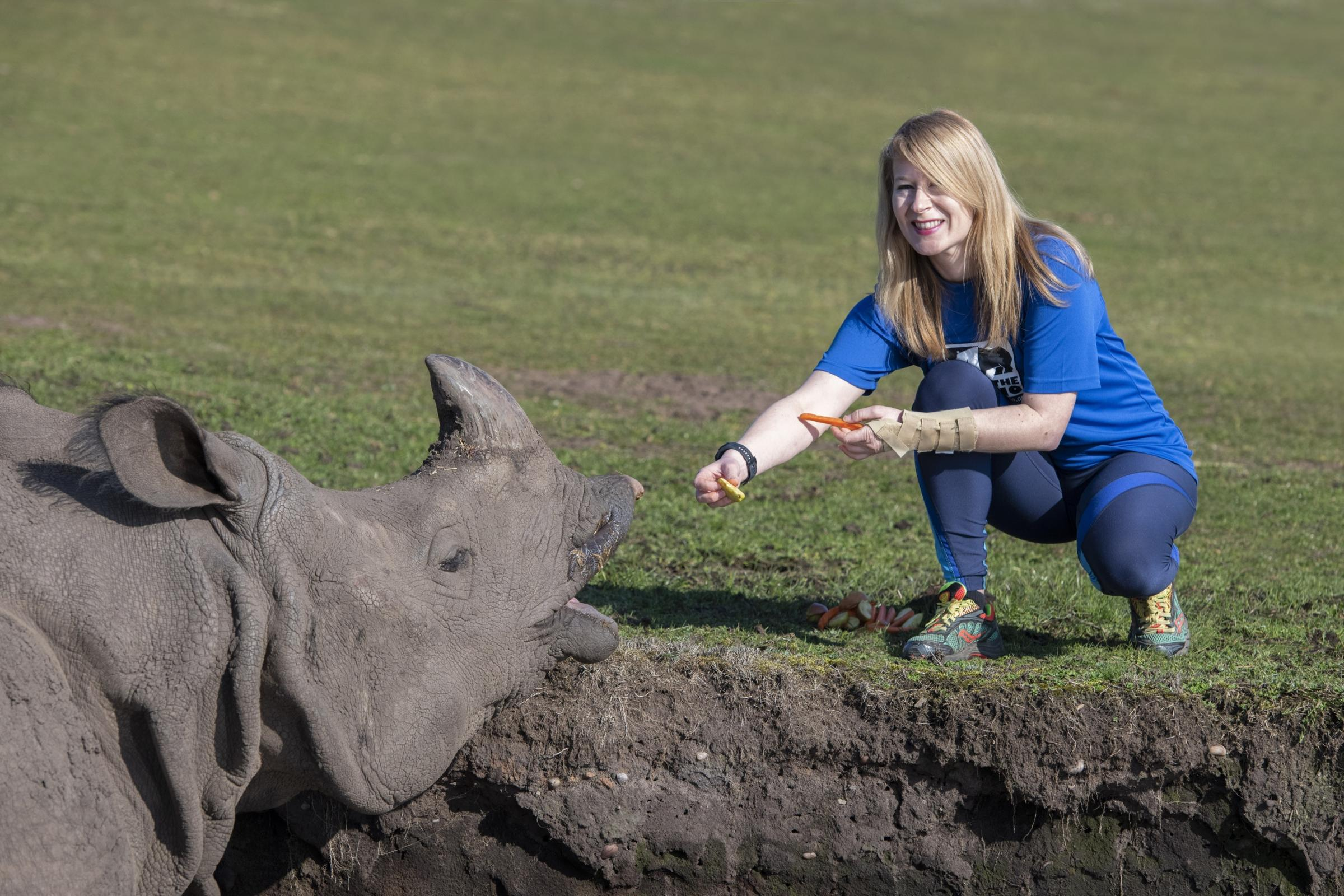 Cathy Dittrich from West Midland Safari Park will be running the Vitality Big Half Marathon to raise money for Save the Rhino International