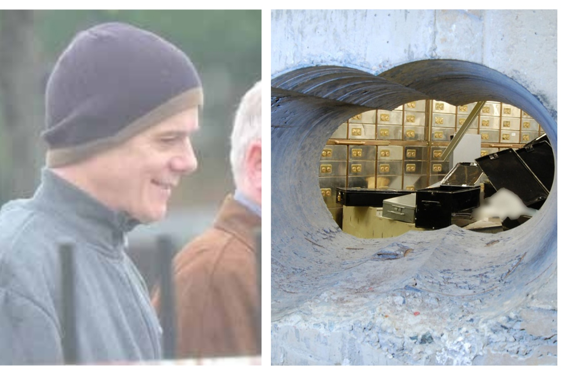 Michael Seed and the tunnel leading into the vault at the Hatton Garden Safe Deposit company