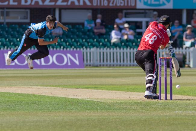 Josh Tongue bowling. Picture: JOHN MALLETT