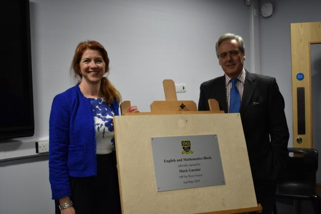 Stourport High School principal Lorna Deakin and Wyre Forest MP Mark Garnier.